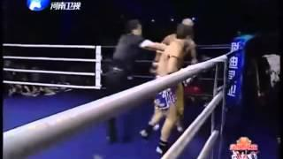 Shaolin Monk Yi Long Vs  Brad Riddell  KO  Foshan China 23 6 2012
