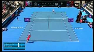 Estrella Cabeza Candela vs Elena Vesnina, Hobart International 2014 - Match Highlights