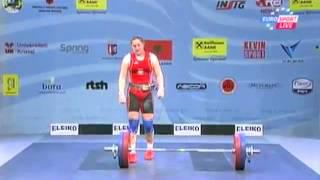 Women  75 kg clean&jerk European Weightlifting Championships Tirana 2013