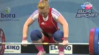 Women 58 kg clean&jerk  European Weightlifting Championships Tirana 2013
