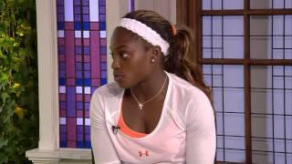 2013 WIMBLEDON: Sloane Stephens visits the ESPN set after her win