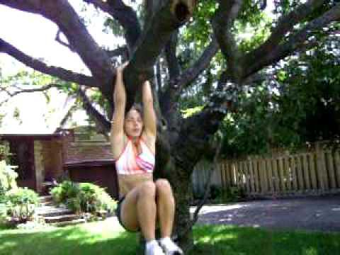 Alex Liska - Hanging Knee Raises Off A Tree Branch