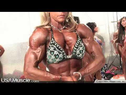2010 NPC Nationals Women's Bodybuilding Pump Room Part 1