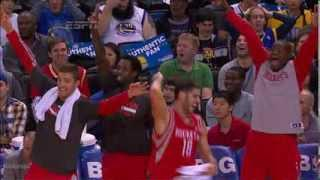 Dwight Howard knocks down a 3-pointer vs Warriors (2013.12.13)