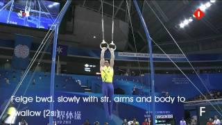 Men's Gymnastics: E and F elements Rings (2011 Edit)