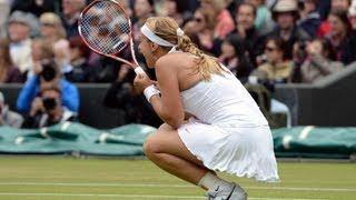 Sabine Lisicki reacts to quarter-final victory at Wimbledon 2013