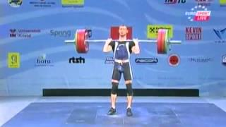 Men 56kg clean&jerk European Weightlifting Championships Tirana 2013