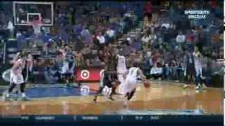 Kevin Martin nasty poster dunk on Tayshaun Prince (2014.01.31)