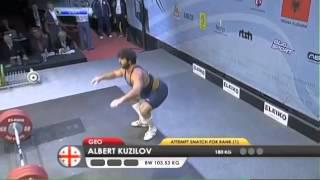 Men 105 kg men snatch European Weightlifting Championships Tirana 2013