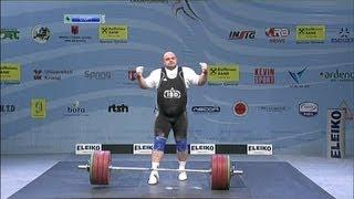 Men +105 kg snatch European Weightlifting Championships Tirana 2013