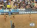 Beach Volleyball Matches - Excellent defense wins this rally